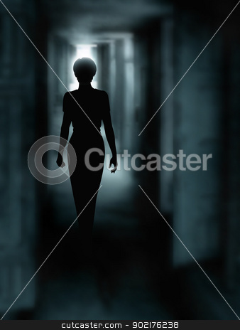 Dark corridor stock vector clipart, Editable vector illustration of a woman's silhouette walking down a dark passage made using a gradient mesh by Robert Adrian Hillman