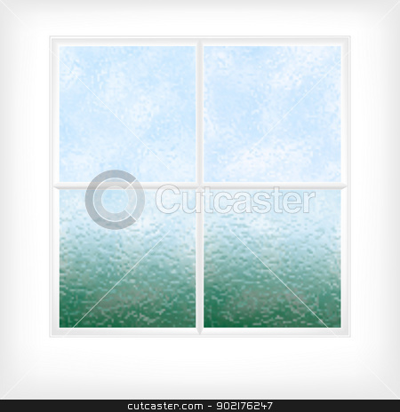 Frosted glass window stock vector clipart, Editable vector illustration of a frosted glass window or door made using gradient meshes by Robert Adrian Hillman