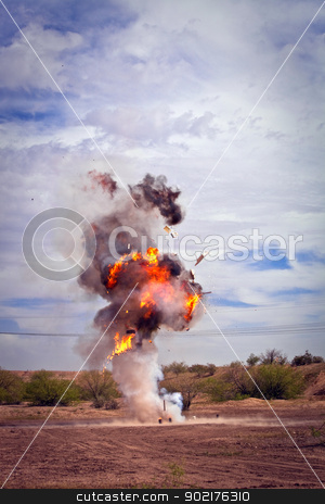 Refrigerator exploded by movie pyrotechnic team stock photo, Motion picture effects refrigerator explosion in desert by Scott Griessel