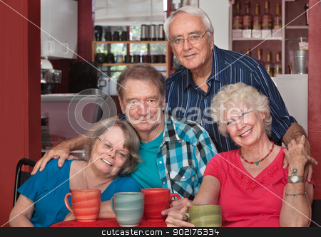 Caucasian Seniors Sitting Together stock photo, Group of Caucasian older people sitting together in a bistro by Scott Griessel