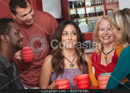 Joyful Diverse Adults with Coffee stock photo, Joyful group of white, Black and Hispanic adults by Scott Griessel