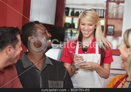 Waitress Taking Orders at Cafe stock photo, Teenage waitress taking orders from smiling patrons in cafe by Scott Griessel