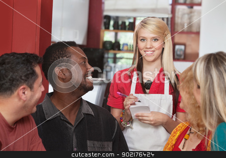 Waitress with Diverse Customers stock photo, Caucasian waitress taking orders from diverse group of customers by Scott Griessel