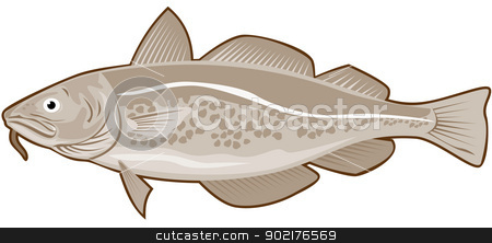 Atlantic Codfish Retro stock vector clipart, Illustration of an atlantic codfish done in retro style. by patrimonio
