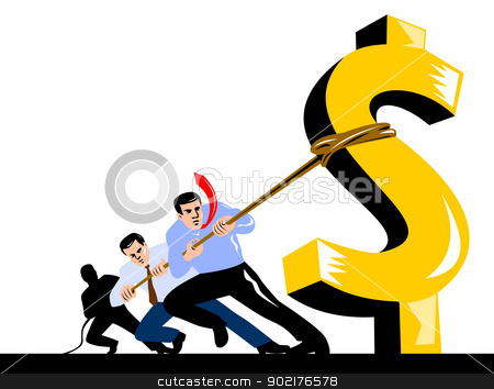 Officer Workers Pulling Down Dollar stock vector clipart, Illustration of office workers pulling down the dollar sign with rope done in retro style. by patrimonio