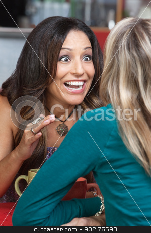 Excited Woman Talking in Restaurant stock photo, Excited beautiful woman talking to friend in restaurant by Scott Griessel