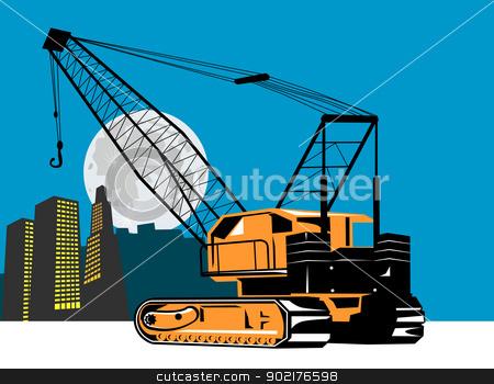 Construction Crane Hoist Retro stock vector clipart, Illustration of a construction crane hoist done in retro style. by patrimonio