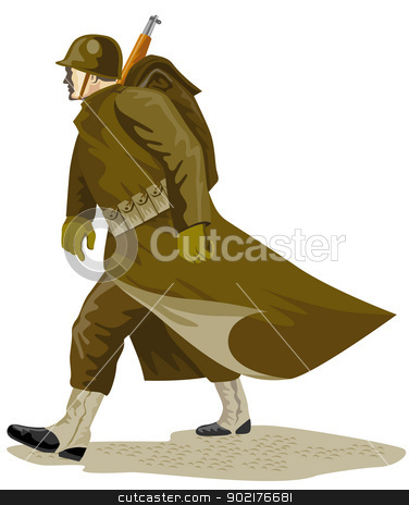 World War Two American Soldier stock vector clipart, Illustration of a world war two american soldier marching done in retro style. by patrimonio