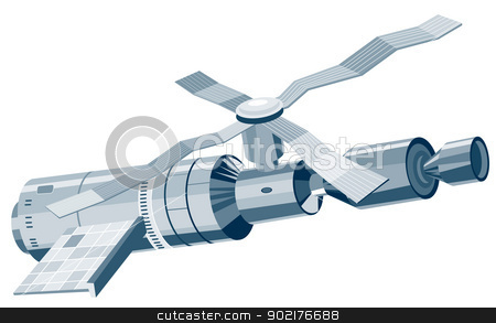Skylab Space Station Satellite stock vector clipart, Illustration of a skylab space station satellite done in retro style. by patrimonio