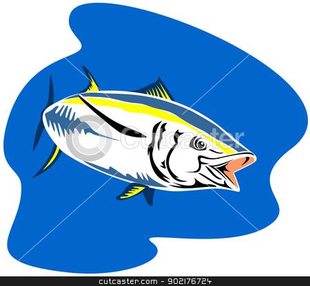 Yellow Fin Tuna Fish Retro stock vector clipart, Illustration of a yellow fin tuna fish done in retro style. by patrimonio