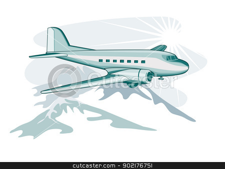 Propeller Airplane Retro stock vector clipart, Illustration of a propeller airplane DC3 airliner on flight flying  isolated background by patrimonio