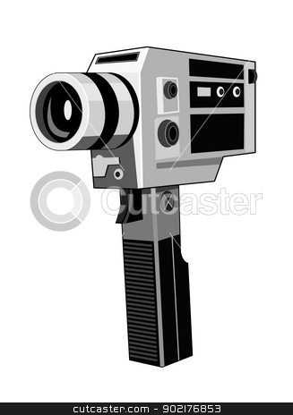 Vintage Video Camera Retro stock vector clipart, Illustration of a vintage video camera done in retro style. by patrimonio