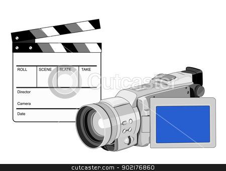 Video Camera Movie Clapboard Retro stock vector clipart, Illustration of a video camera with movie clapboard clapper board done in retro style. by patrimonio