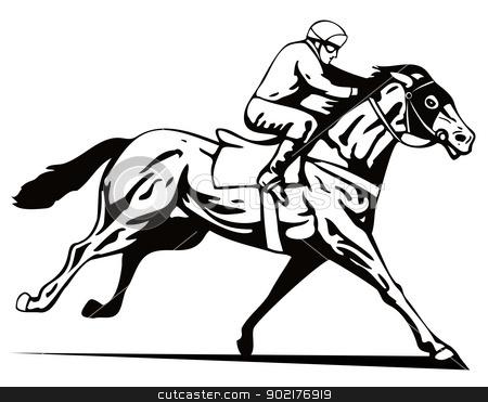 Horse And Jockey Racing Retro Stock Vector