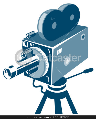 Vintage Video Movie Camera Retro stock vector clipart, Illustration of a vintage video camera done in retro style. by patrimonio