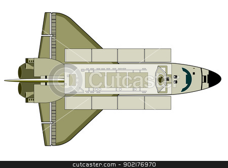 Space Shuttle Aircraft Retro stock vector clipart, Illustration of space shuttle aircraft on isolated white background. by patrimonio