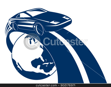 Car Coming Out of Globe stock vector clipart, Illustration of as car automobile coming out of globe done in retro style. by patrimonio