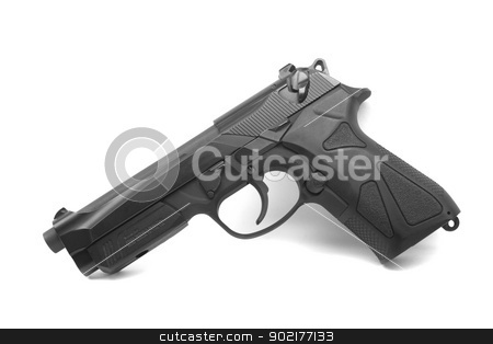 Handgun isolated on white stock photo, Handgun isolated on a white background by Jeremy Baumann