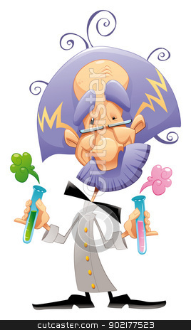 Mad scientist. stock vector clipart, Mad scientist. Funny vector and cartoon character. by ddraw