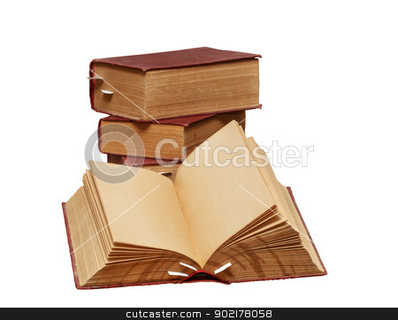 Old books stock photo,  A stack of old books on a white background. One book is open, clean pages, you can add text or picture. by fogen
