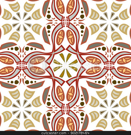 Seamless Symmetrical Pattern stock vector clipart, Seamless symmetrical background pattern with hook shapes by Eric Basir