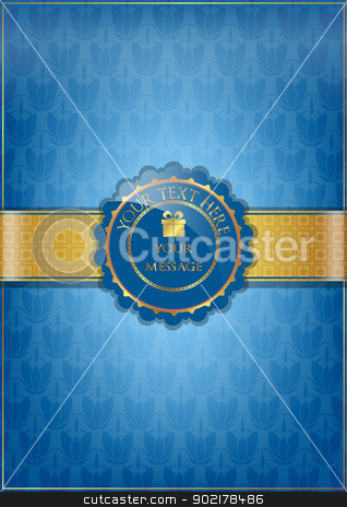 Blue floral texture and golden ribbon stock vector clipart, Blue floral texture and golden ribbon by muammer başer