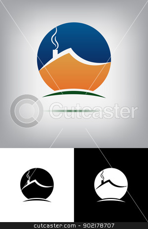 House logo stock vector clipart, House logo by muammer başer