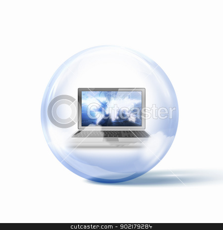 computer stock photo, Image of a personal computer inside a glass sphere by Sergey Nivens