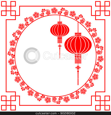 Chinese New Year Greeting Card stock vector clipart, Chinese Paper Cutting Motif Chinese Lantern and Cherry Blossom by meikis