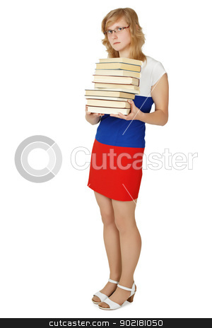Woman - student with a pile of books stock photo, The woman - a student with a pile of books on white background by Alexey Romanov