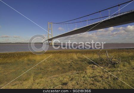 Humber bridge stock photo, photo of the Humber bridge taken from the south bank of the river Humber by sijohnsen