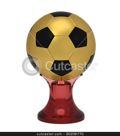Ball on stand stock photo, Ball on stand, cup, isolated on white, 3d render by Borislav Marinic