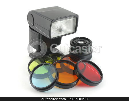 Color filter for lenses and photoflash stock photo, Color filter for lenses and photoflash over white by Sergei Devyatkin