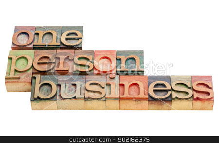 one person business stock photo, one person business  -isolated words in vintage letterpress wood type printing blocks by Marek Uliasz