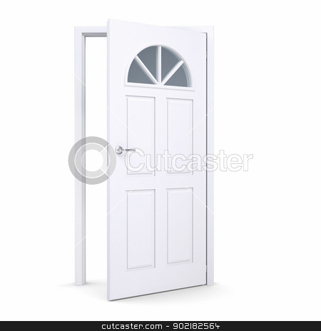 White open door stock photo, White open door. Isolated render on a white background by cherezoff