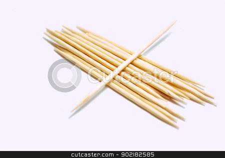 Toothpicks stock photo, A group of toothpicks isolated on white  by Javier Correa