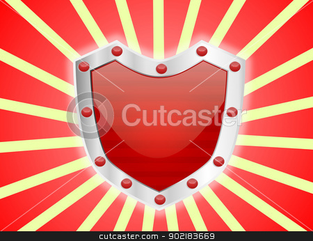 Gem Studded Red Shield stock photo, A red studded shiny red shield with silver frame  by Sidharth Thakur