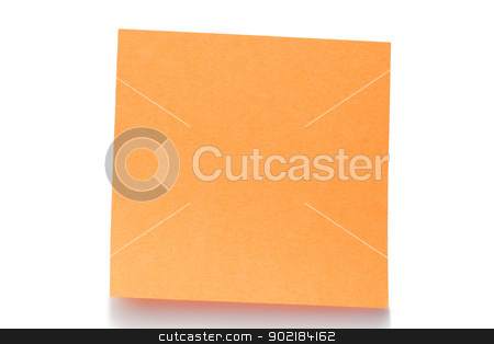 Orange post-it stock photo, Orange post-it on a white background by Wavebreak Media
