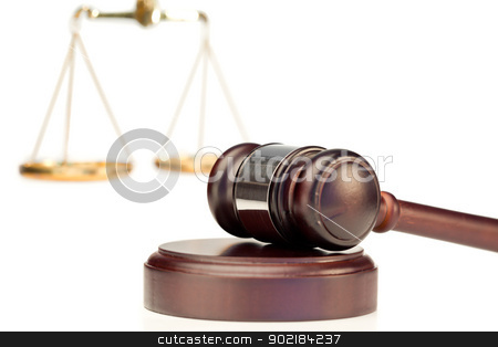 Gavel and scale of justice stock photo, Gavel and scale of justice on a white background by Wavebreak Media