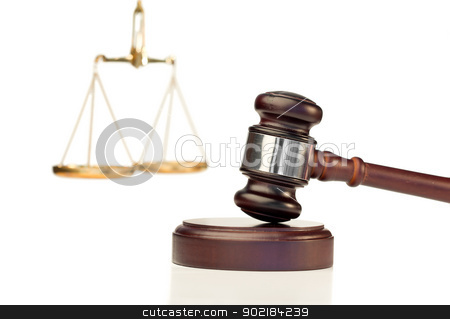Gavel in action and scale of justice stock photo, Gavel in action and scale of justice on a white background by Wavebreak Media