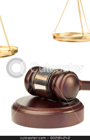 Gavel and golden scale of justice stock photo, Gavel and golden scale of justice on a white background by Wavebreak Media