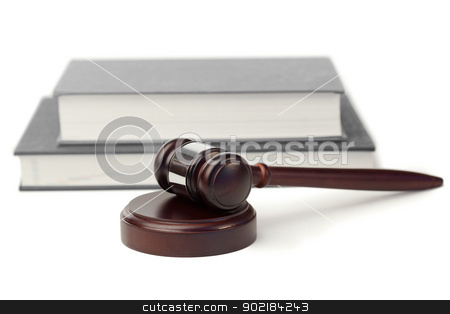 Gavel and grey book stock photo, Gavel and grey books on a white background by Wavebreak Media