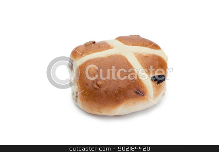 Hot cross bun isolated stock photo, Hot cross bun isolated on a white background by Wavebreak Media