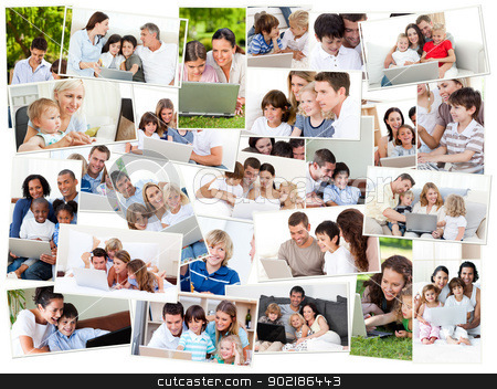 Collage of families surfing on their laptop stock photo, Collage of families surfing on their laptop at home and outdoors by Wavebreak Media