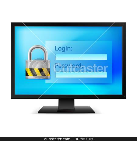 Computer with lock stock photo, Illustration of computer with lock on white background by dvarg