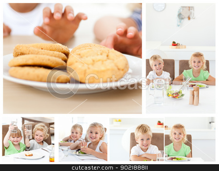Collage of children having a snack stock photo, Collage of children having a snack by Wavebreak Media