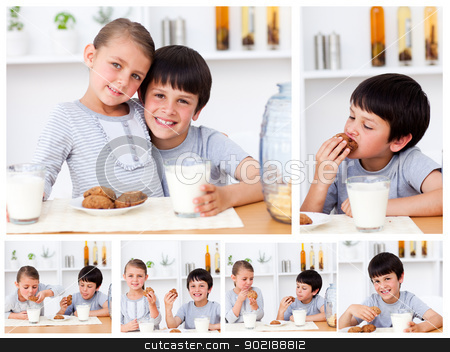 Collage of kids having a snack stock photo, Collage of kids having a snack by Wavebreak Media