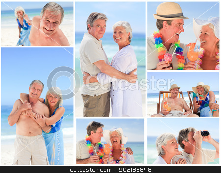 Collage of a mature couple on the beach stock photo, Collage of a mature couple on the beach by Wavebreak Media