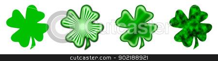 Big Saint Patrick's shamrock stock photo, 4 different shamrocks, the typical Saint Patrick's day celebration clovers by Dario Rota