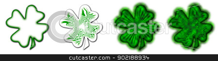 Big Saint Patrick's shamrock stock photo, 4 different shamrocks, the typical Saint Patrick's day celebration clovers by Dario Rota